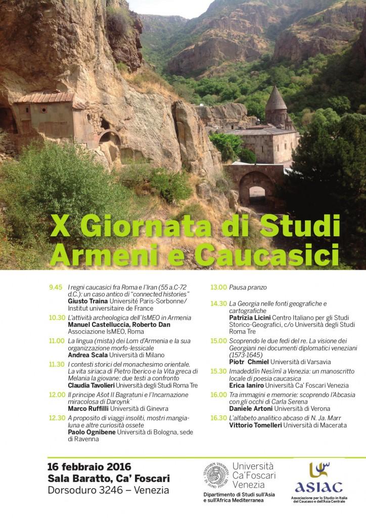 X Giornata di Studi Armeni e Caucasici